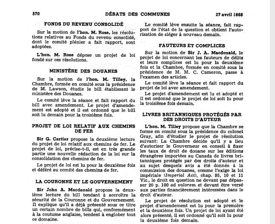Première mention du droit d'auteur dans le Journal des débats du Parlement du Canada [Capture d'écran]